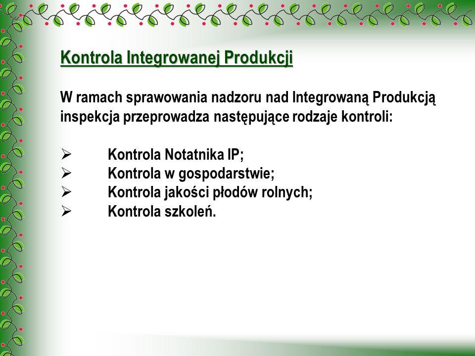 Kontrola Integrowanej Produkcji W ramach sprawowania nadzoru nad Integrowaną Produkcją inspekcja przeprowadza następujące rodzaje kontroli: Kontrola N