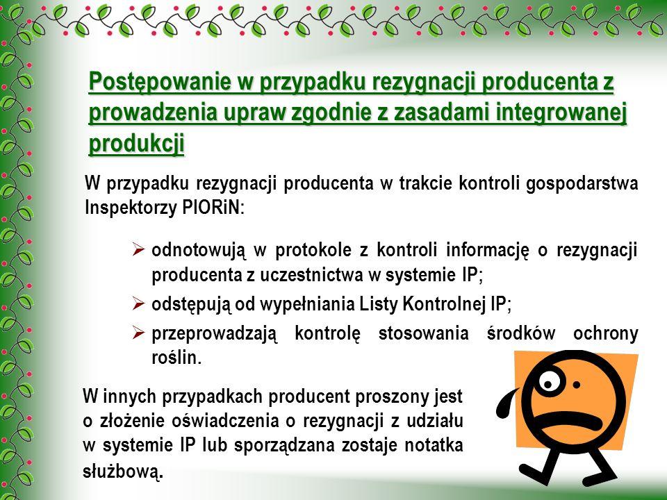 Postępowanie w przypadku rezygnacji producenta z prowadzenia upraw zgodnie z zasadami integrowanej produkcji W przypadku rezygnacji producenta w trakc