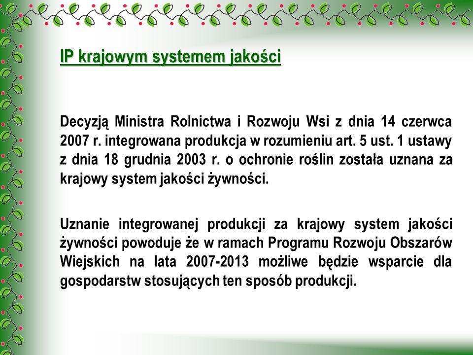 Decyzją Ministra Rolnictwa i Rozwoju Wsi z dnia 14 czerwca 2007 r. integrowana produkcja w rozumieniu art. 5 ust. 1 ustawy z dnia 18 grudnia 2003 r. o