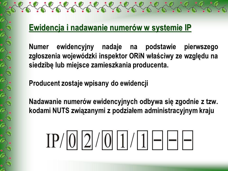 Numer ewidencyjny nadaje na podstawie pierwszego zgłoszenia wojewódzki inspektor ORiN właściwy ze względu na siedzibę lub miejsce zamieszkania produce