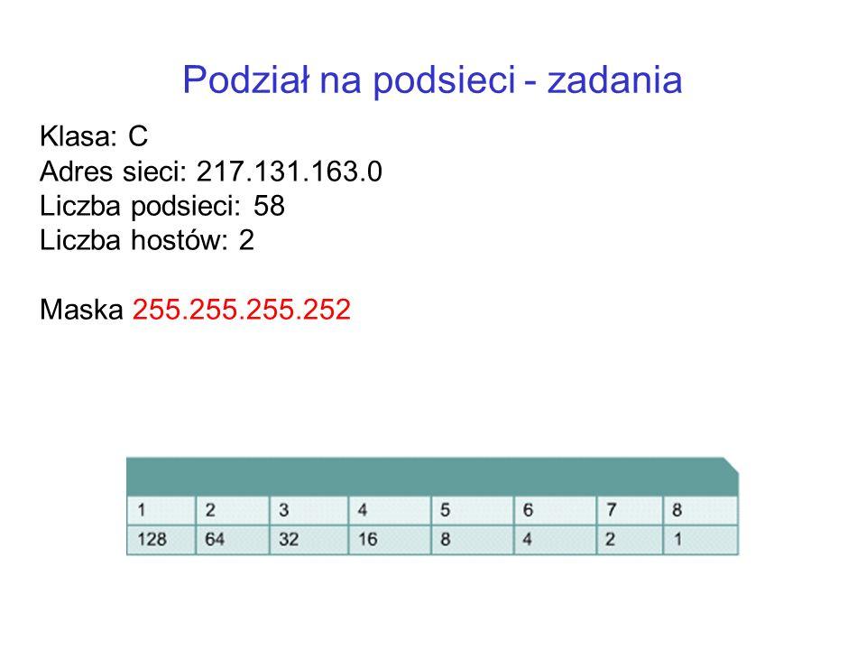 Podział na podsieci - zadania Klasa: C Adres sieci: 217.131.163.0 Liczba podsieci: 58 Liczba hostów: 2 Maska 255.255.255.252