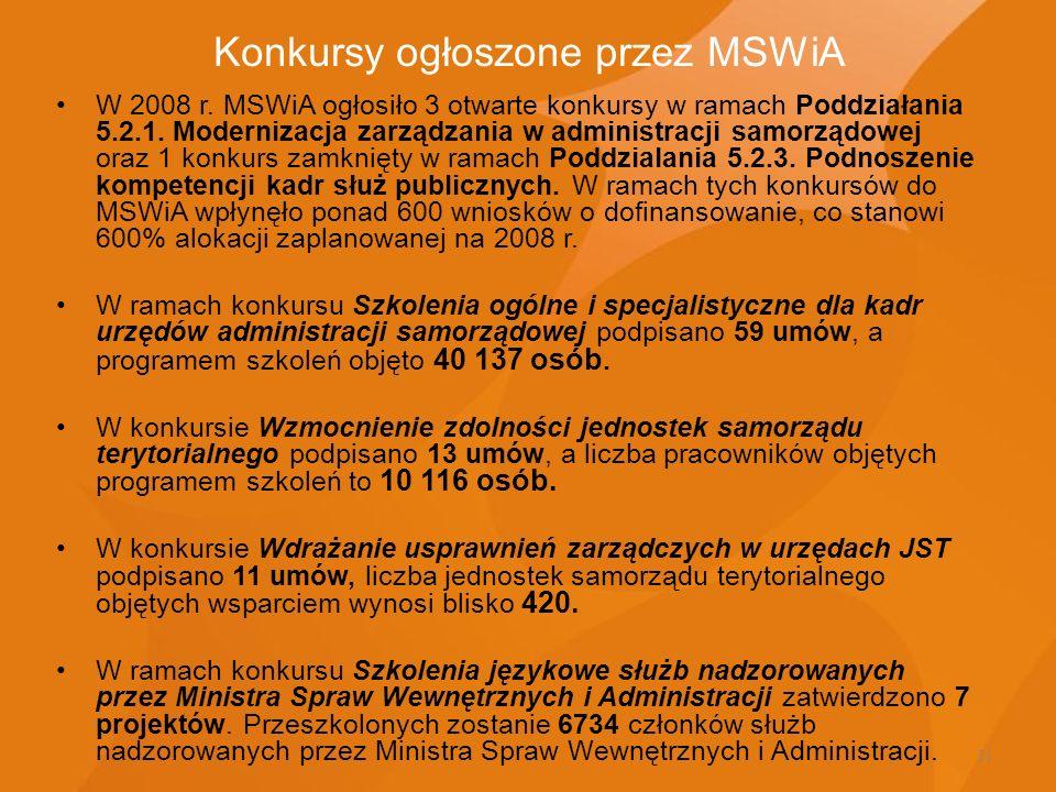 11 Konkursy ogłoszone przez MSWiA W 2008 r. MSWiA ogłosiło 3 otwarte konkursy w ramach Poddziałania 5.2.1. Modernizacja zarządzania w administracji sa
