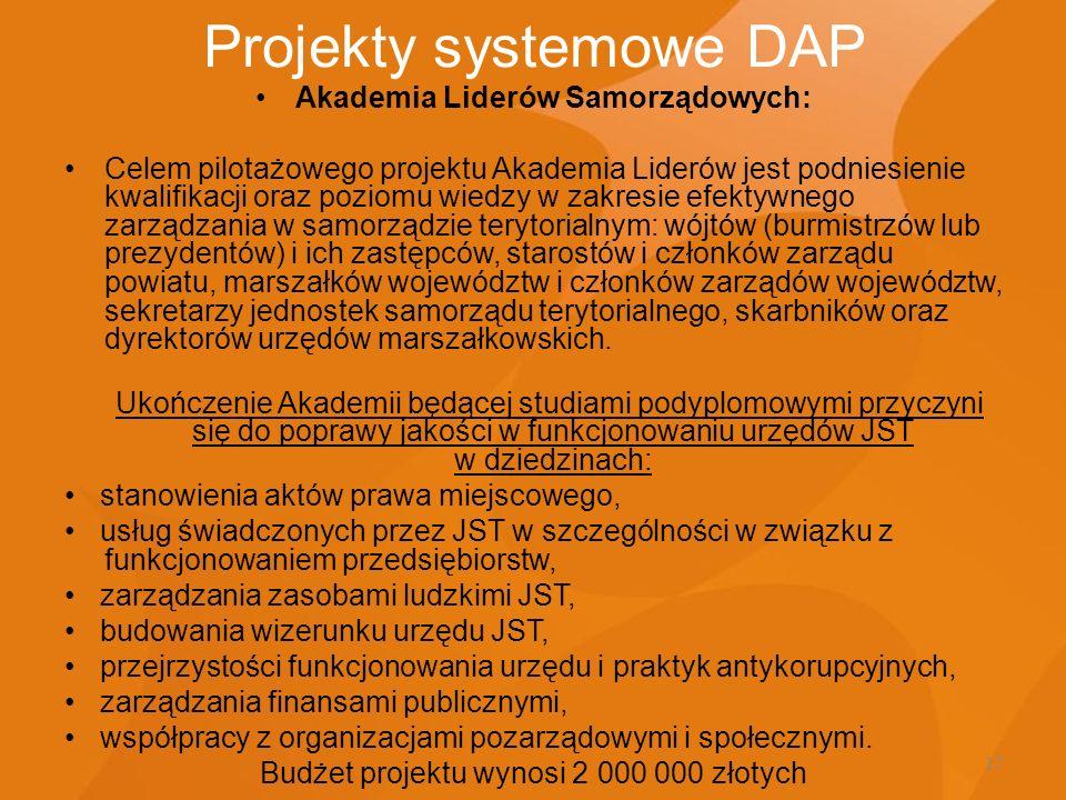 12 Projekty systemowe DAP Akademia Liderów Samorządowych: Celem pilotażowego projektu Akademia Liderów jest podniesienie kwalifikacji oraz poziomu wie