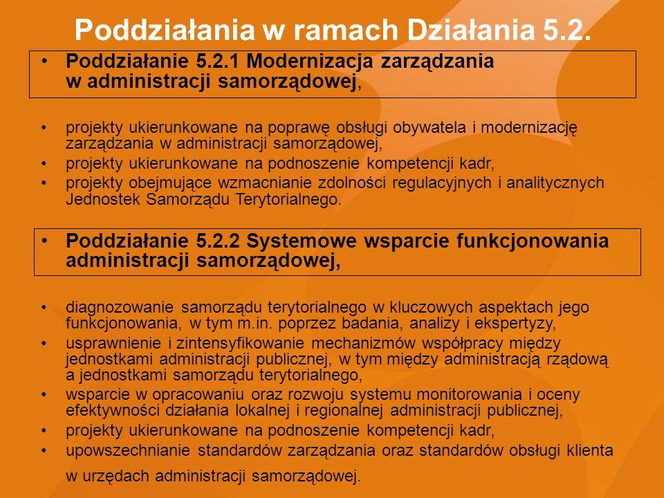 3 Poddziałania w ramach Działania 5.2. Poddziałanie 5.2.1 Modernizacja zarządzania w administracji samorządowej, projekty ukierunkowane na poprawę obs