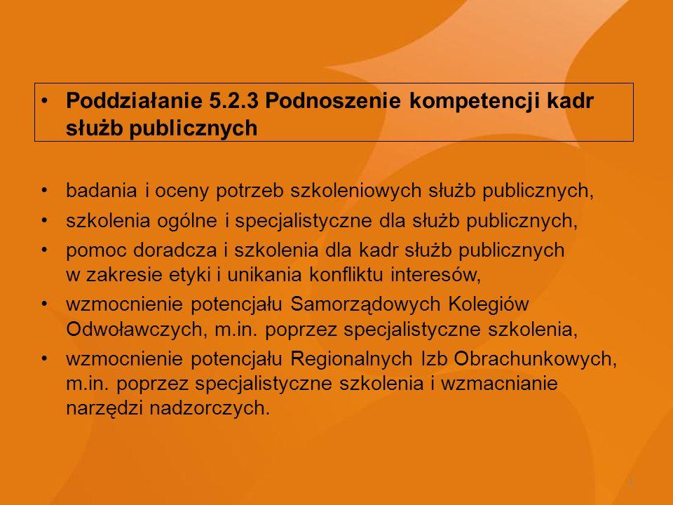 4 Poddziałanie 5.2.3 Podnoszenie kompetencji kadr służb publicznych badania i oceny potrzeb szkoleniowych służb publicznych, szkolenia ogólne i specja