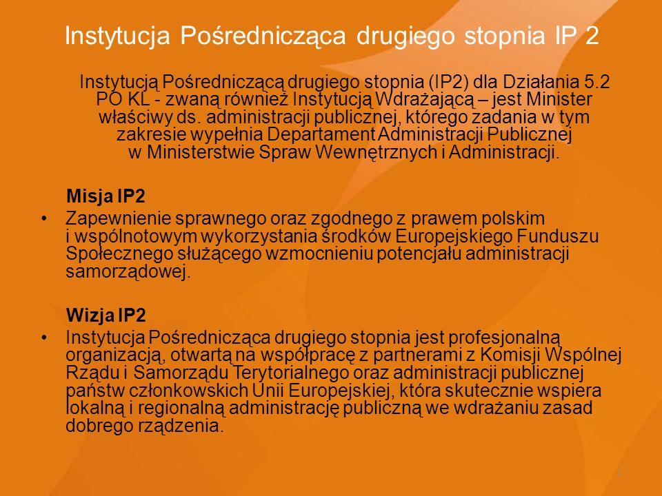 5 Instytucja Pośrednicząca drugiego stopnia IP 2 Instytucją Pośredniczącą drugiego stopnia (IP2) dla Działania 5.2 PO KL - zwaną również Instytucją Wd