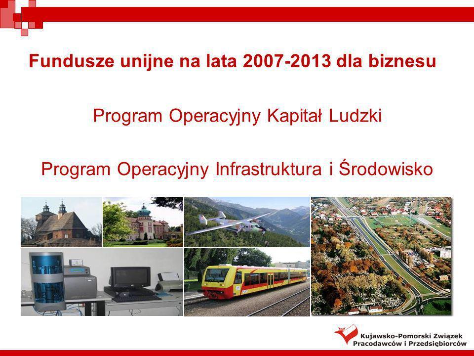 Fundusze unijne na lata 2007-2013 dla biznesu Program Operacyjny Kapitał Ludzki Program Operacyjny Infrastruktura i Środowisko