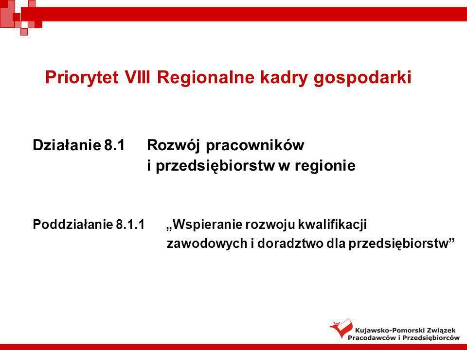 Priorytet VIII Regionalne kadry gospodarki Działanie 8.1 Rozwój pracowników i przedsiębiorstw w regionie Poddziałanie 8.1.1 Wspieranie rozwoju kwalifi