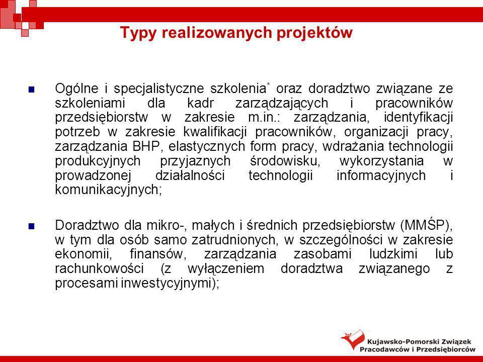 Typy realizowanych projektów Ogólne i specjalistyczne szkolenia * oraz doradztwo związane ze szkoleniami dla kadr zarządzających i pracowników przedsi