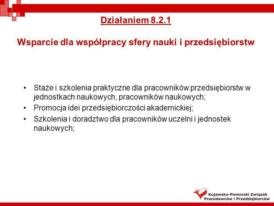 Działaniem 8.2.1 Wsparcie dla współpracy sfery nauki i przedsiębiorstw Staże i szkolenia praktyczne dla pracowników przedsiębiorstw w jednostkach nauk