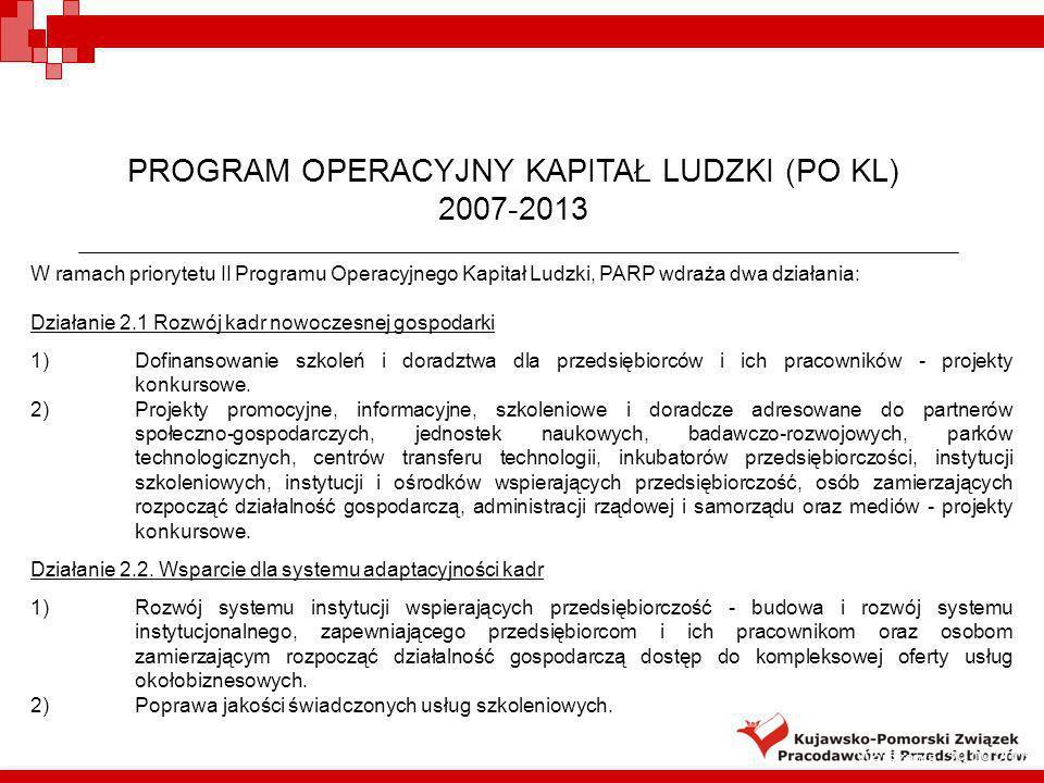 4 PROGRAM OPERACYJNY KAPITAŁ LUDZKI (PO KL) 2007-2013 W ramach priorytetu II Programu Operacyjnego Kapitał Ludzki, PARP wdraża dwa działania: Działani