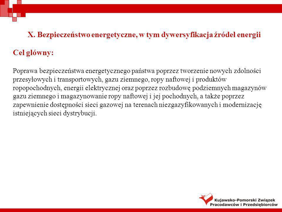 X. Bezpieczeństwo energetyczne, w tym dywersyfikacja źródeł energii Cel główny: Poprawa bezpieczeństwa energetycznego państwa poprzez tworzenie nowych