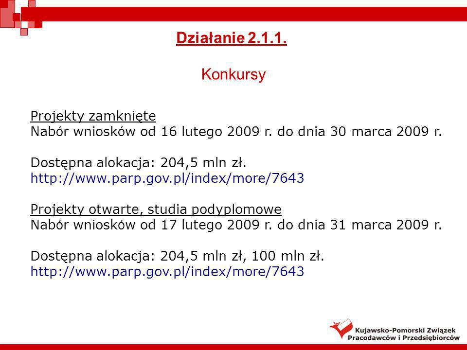 Działanie 2.1.1. Konkursy Projekty zamknięte Nab ó r wniosk ó w od 16 lutego 2009 r. do dnia 30 marca 2009 r. Dostępna alokacja: 204,5 mln zł. http://