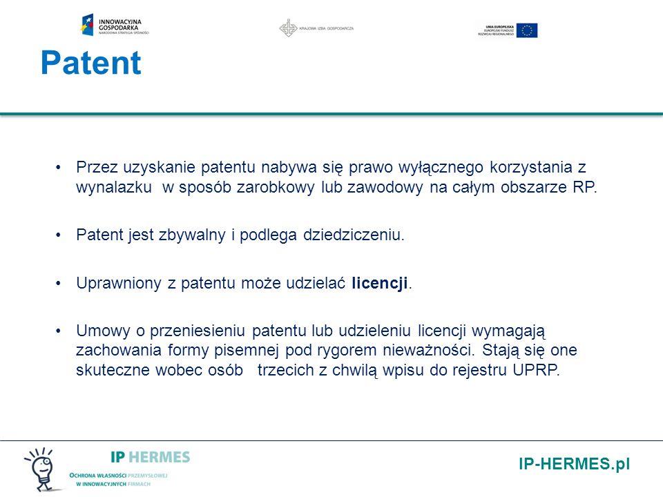 IP-HERMES.pl Przez uzyskanie patentu nabywa się prawo wyłącznego korzystania z wynalazku w sposób zarobkowy lub zawodowy na całym obszarze RP. Patent