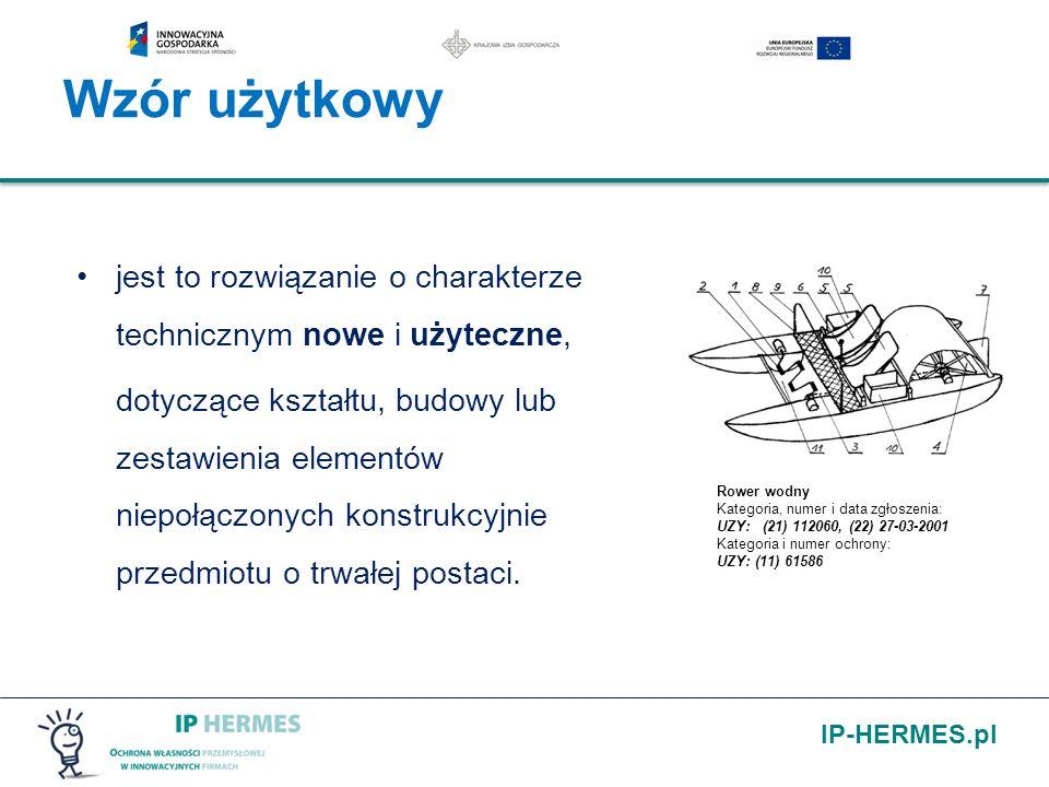 IP-HERMES.pl Wzór użytkowy jest to rozwiązanie o charakterze technicznym nowe i użyteczne, dotyczące kształtu, budowy lub zestawienia elementów niepoł