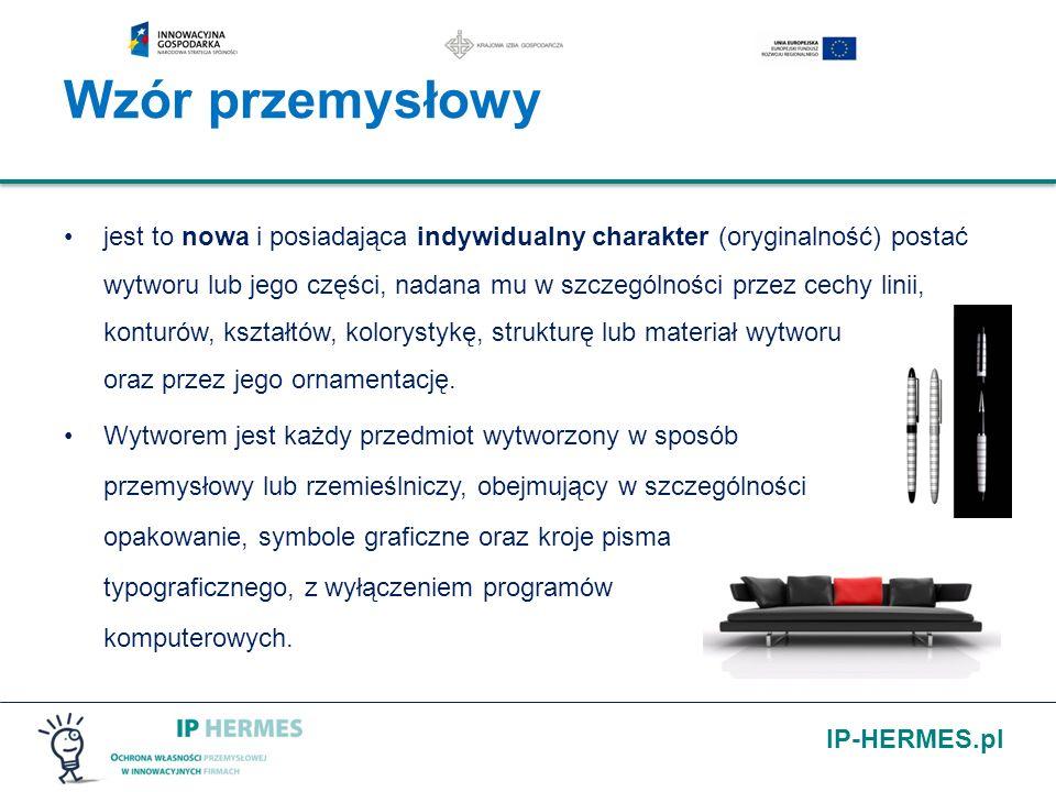 IP-HERMES.pl Wzór przemysłowy jest to nowa i posiadająca indywidualny charakter (oryginalność) postać wytworu lub jego części, nadana mu w szczególnoś