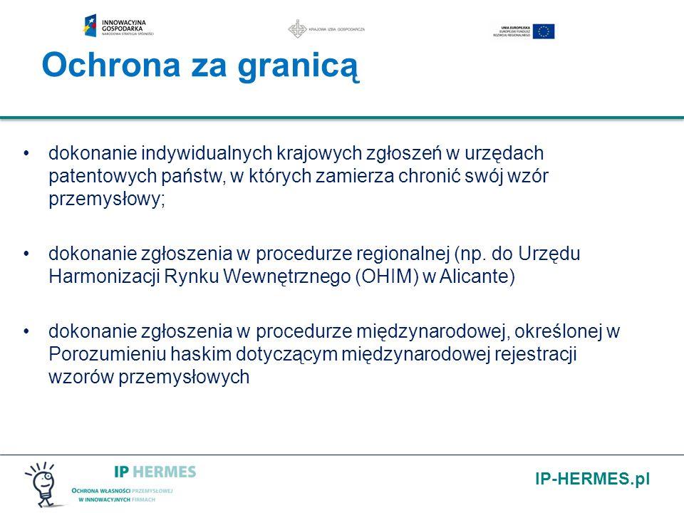 IP-HERMES.pl dokonanie indywidualnych krajowych zgłoszeń w urzędach patentowych państw, w których zamierza chronić swój wzór przemysłowy; dokonanie zg