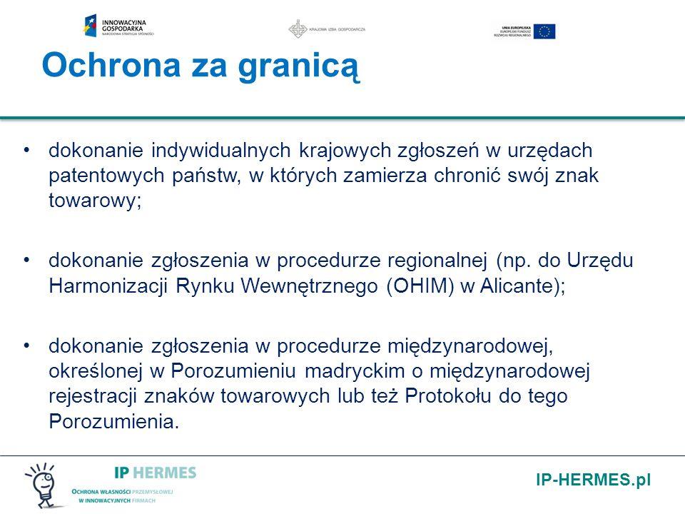 IP-HERMES.pl dokonanie indywidualnych krajowych zgłoszeń w urzędach patentowych państw, w których zamierza chronić swój znak towarowy; dokonanie zgłos