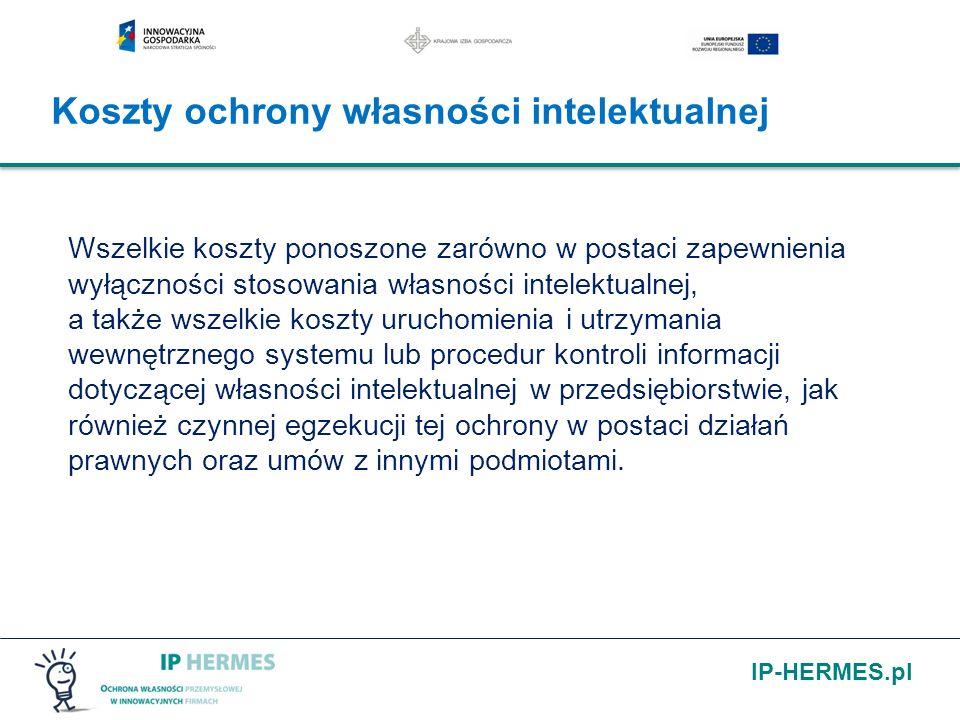 IP-HERMES.pl Wszelkie koszty ponoszone zarówno w postaci zapewnienia wyłączności stosowania własności intelektualnej, a także wszelkie koszty uruchomi