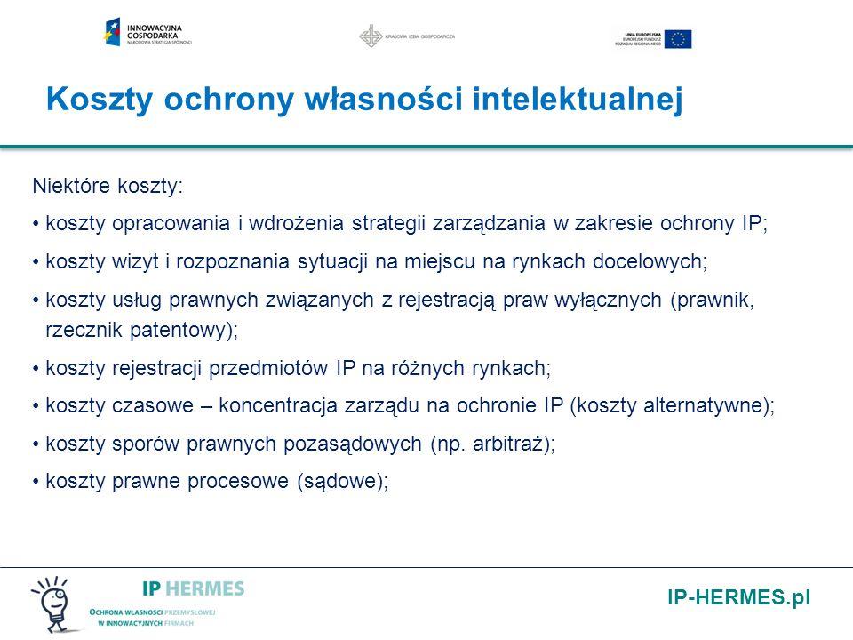 IP-HERMES.pl Niektóre koszty: koszty opracowania i wdrożenia strategii zarządzania w zakresie ochrony IP; koszty wizyt i rozpoznania sytuacji na miejs