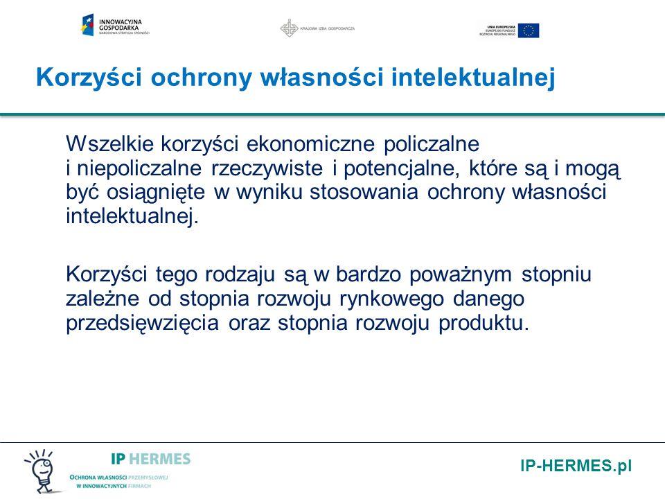 IP-HERMES.pl Korzyści ochrony własności intelektualnej Wszelkie korzyści ekonomiczne policzalne i niepoliczalne rzeczywiste i potencjalne, które są i