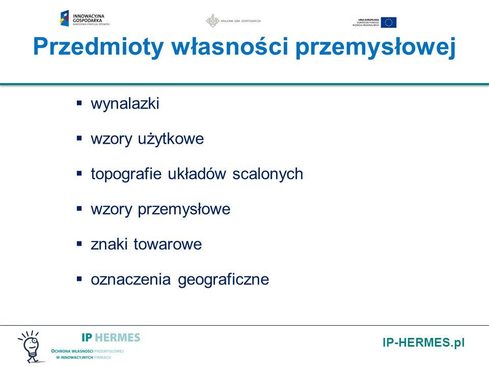 IP-HERMES.pl Przedmioty własności przemysłowej wynalazki wzory użytkowe topografie układów scalonych wzory przemysłowe znaki towarowe oznaczenia geogr