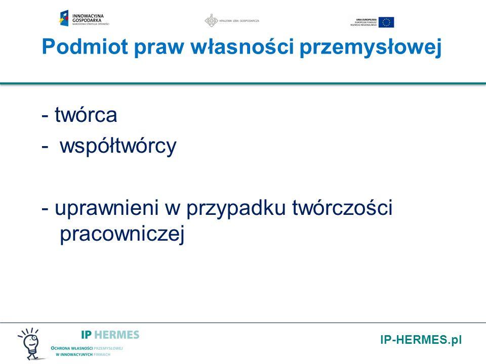 IP-HERMES.pl Podmiot praw własności przemysłowej - twórca -współtwórcy - uprawnieni w przypadku twórczości pracowniczej