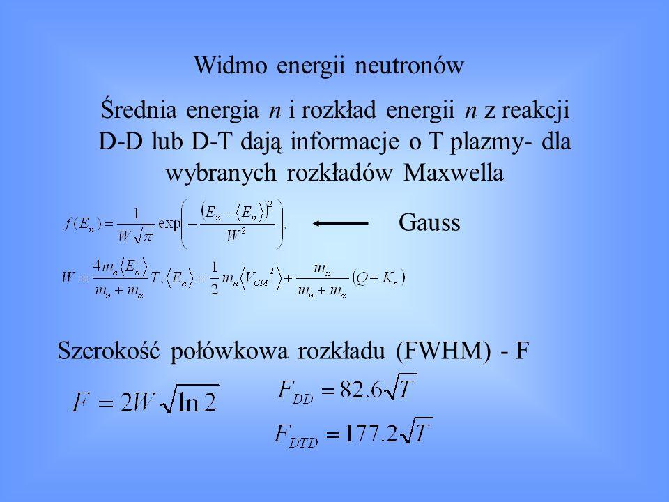 Dla plazmy nie-maxwellowskiej, ale z izotropowym rozkładem prędkości jonów – widmo energetyczne n będzie zawsze w przybliżeniu gaussowskie Dla plazmy w polu magnetycznym – widmo energetyczne n będzie zależeć od: kątowego rozkładu prędkości jonów; kąta wstrzeliwania wiązki neutrałów kąta obserwacji