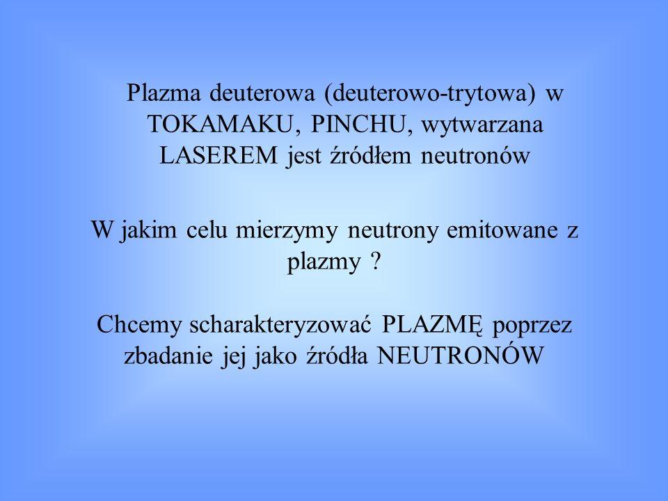 Diagnostyka neutronowa pozwala na: określenie ρ, T i ; wnioskowanie o własnościach transportu cząstek (np.