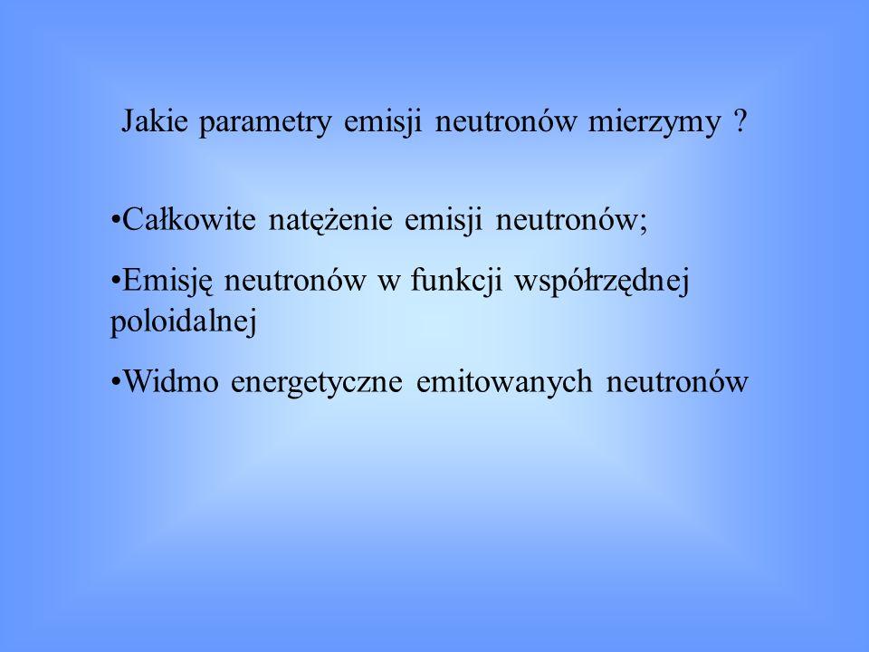 Zaleta pomiarów: Oszacowanie parametrów plazmy bezpośrednio z pomiarów neutronowych ma prostą interpretację Główne problemy pomiarowe związane z emisją neutronów w przypadku tokamaków: skala czasu emisji 1 – 100 ms; intensywność emisji 10 10 – 10 19 s -1 ; obecność neutronów z reakcji p, d, 3 He z 9 Be i 12 C