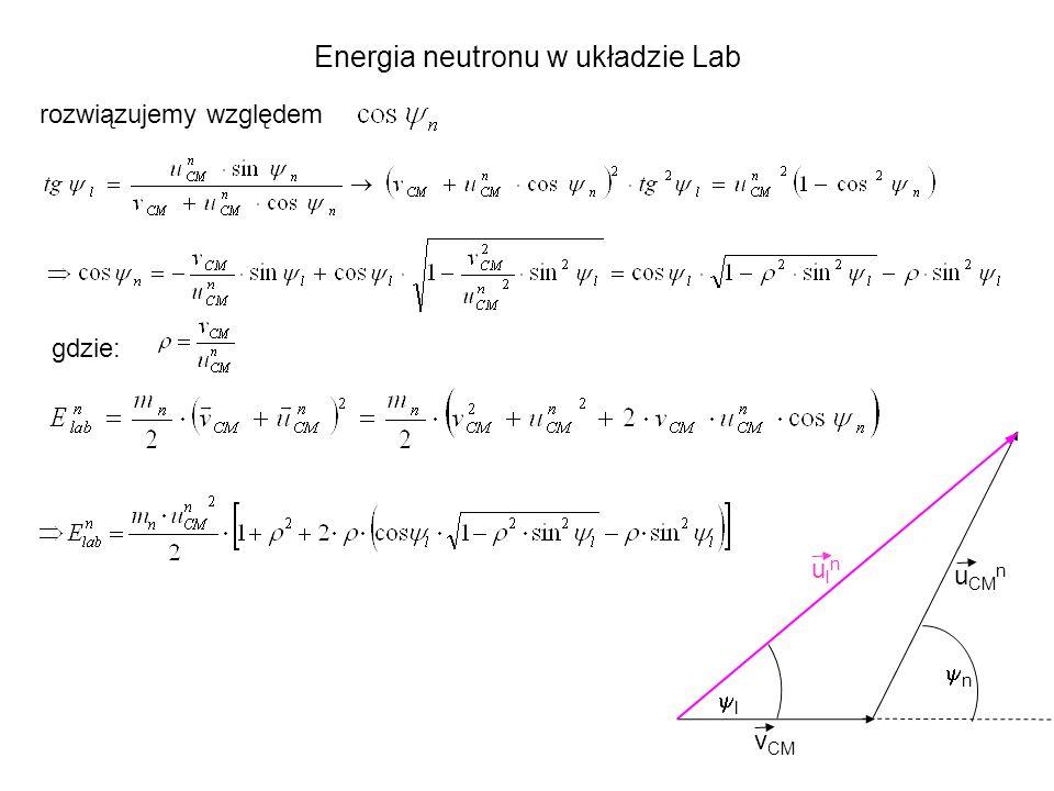 n l target beam d + tak więc: Przykład: E d = 100 keV wtedy; ρ = 0.07, v d = 3.1·10 8 cm/s, v CM = 1.55·10 8 cm/s, v He (CM)= 7.21·10 8 cm/s, u CM u = 2.16·10 9 cm/s, ρ He =0,215 E n (90 0 ) = 2.5 MeV E n (0 0 ) = 2.8 MeV E n (180 0 ) = 2.3 MeV E He (180 0 ) = 0.503 MeV