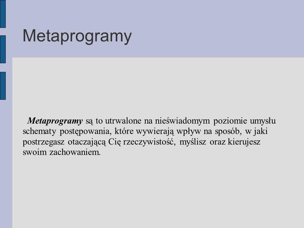 Metaprogramy Metaprogramy są to utrwalone na nieświadomym poziomie umysłu schematy postępowania, które wywierają wpływ na sposób, w jaki postrzegasz otaczającą Cię rzeczywistość, myślisz oraz kierujesz swoim zachowaniem.