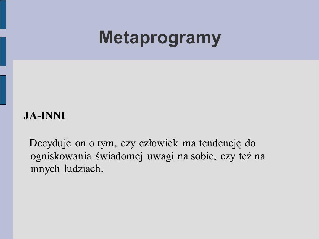Metaprogramy JA-INNI Decyduje on o tym, czy człowiek ma tendencję do ogniskowania świadomej uwagi na sobie, czy też na innych ludziach.
