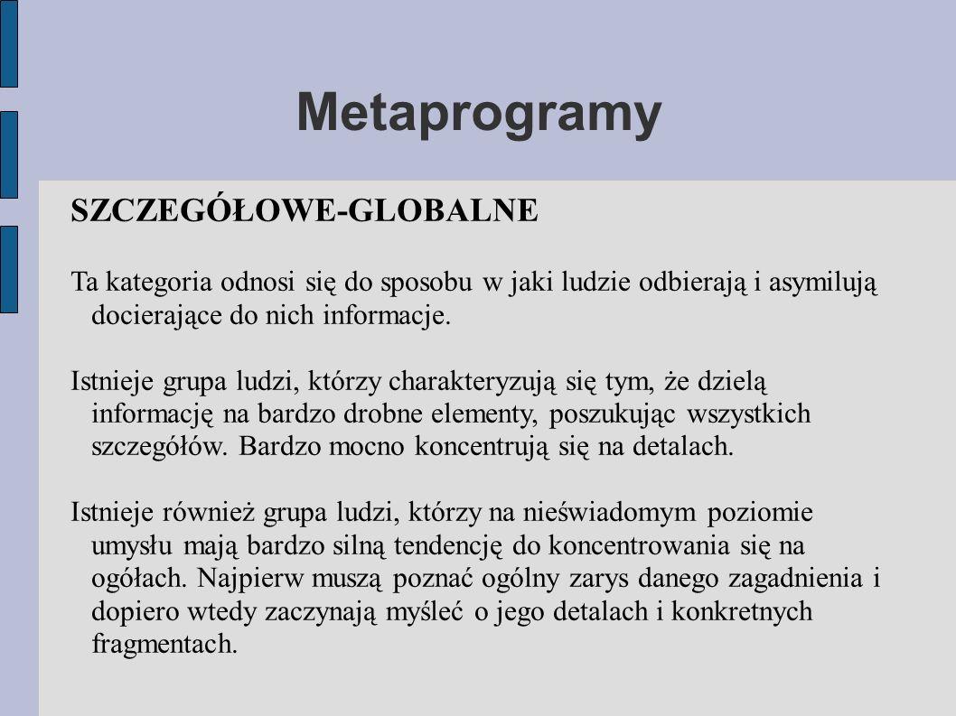 Metaprogramy SZCZEGÓŁOWE-GLOBALNE Ta kategoria odnosi się do sposobu w jaki ludzie odbierają i asymilują docierające do nich informacje.