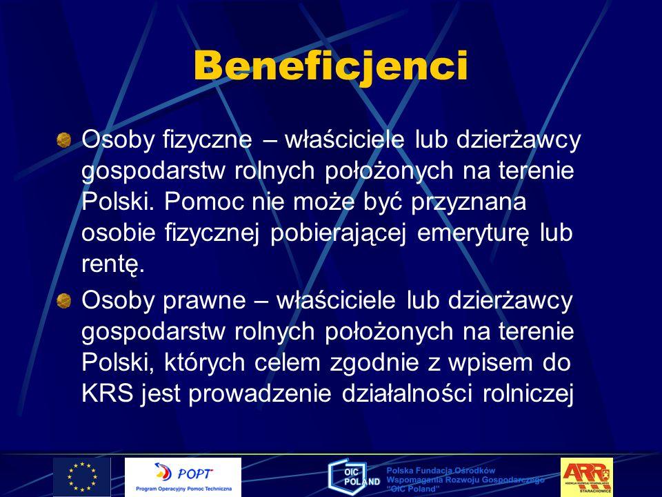 Beneficjenci Osoby fizyczne – właściciele lub dzierżawcy gospodarstw rolnych położonych na terenie Polski. Pomoc nie może być przyznana osobie fizyczn