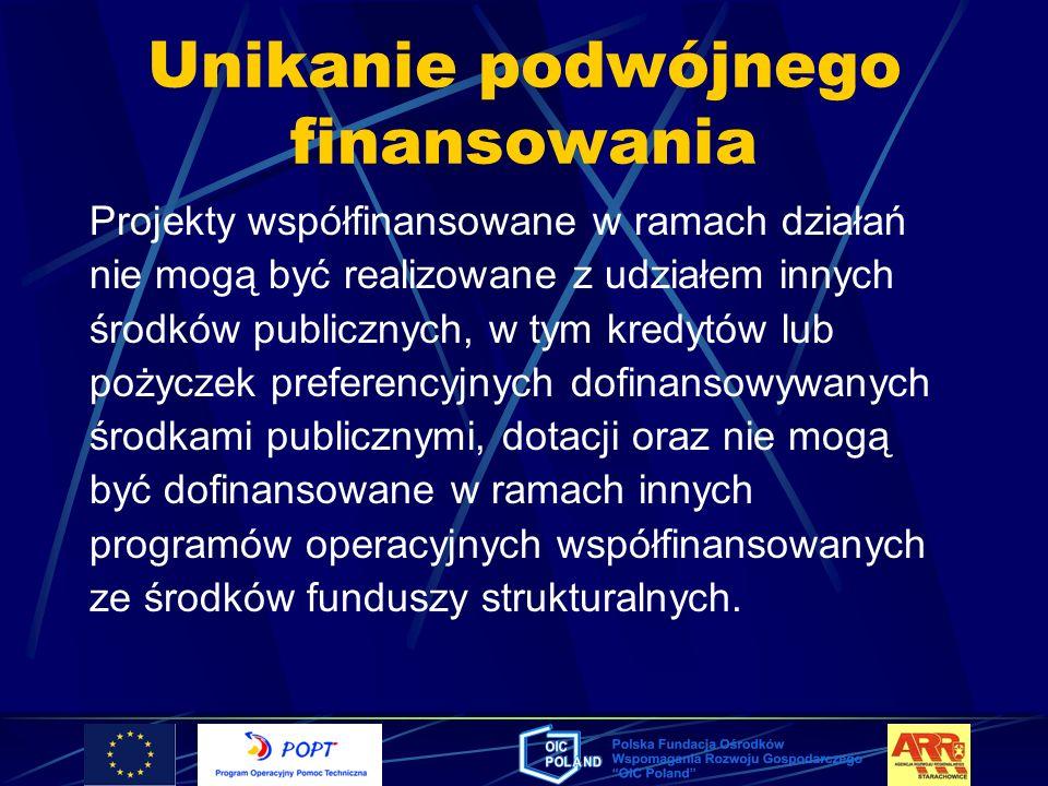 Unikanie podwójnego finansowania Projekty współfinansowane w ramach działań nie mogą być realizowane z udziałem innych środków publicznych, w tym kred