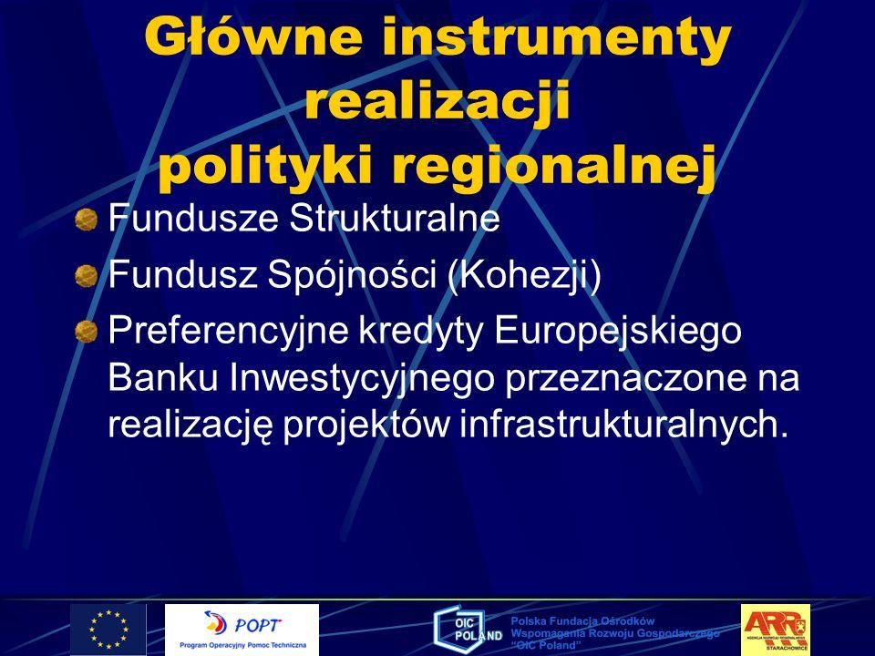 Główne instrumenty realizacji polityki regionalnej Fundusze Strukturalne Fundusz Spójności (Kohezji) Preferencyjne kredyty Europejskiego Banku Inwesty