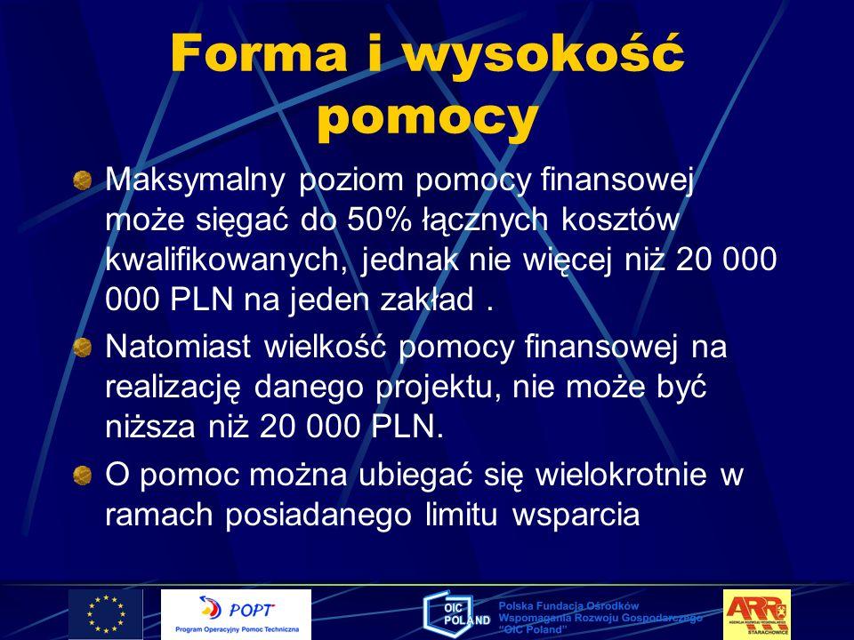 Forma i wysokość pomocy Maksymalny poziom pomocy finansowej może sięgać do 50% łącznych kosztów kwalifikowanych, jednak nie więcej niż 20 000 000 PLN