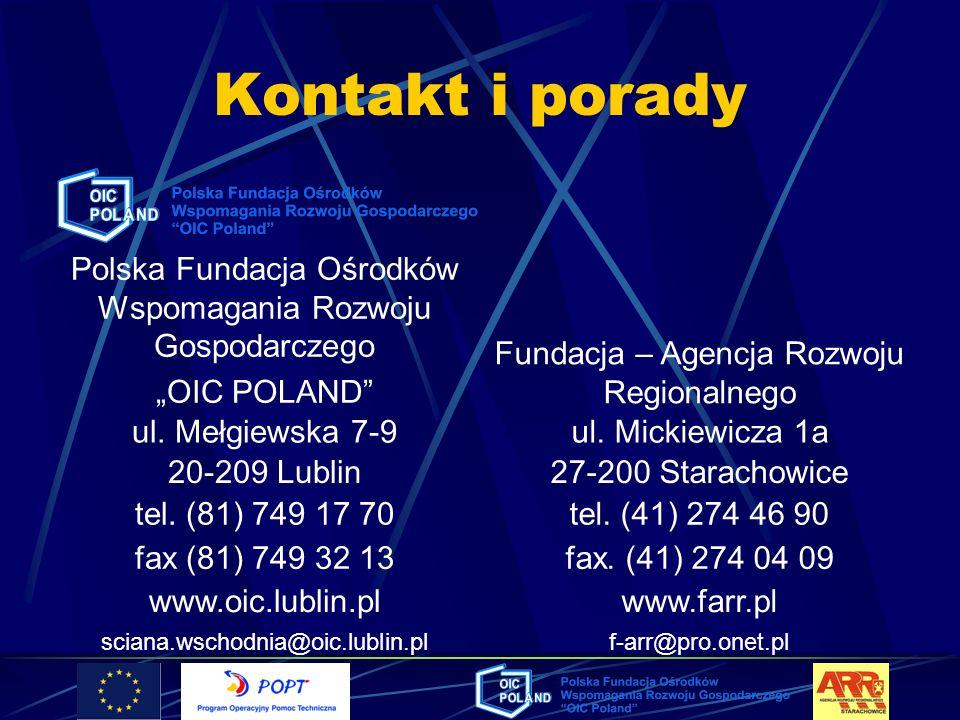 Kontakt i porady Polska Fundacja Ośrodków Wspomagania Rozwoju Gospodarczego OIC POLAND Fundacja – Agencja Rozwoju Regionalnego ul. Mełgiewska 7-9ul. M