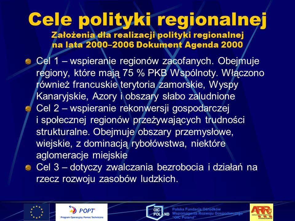 Cele polityki regionalnej Założenia dla realizacji polityki regionalnej na lata 2000–2006 Dokument Agenda 2000 Cel 1 – wspieranie regionów zacofanych.