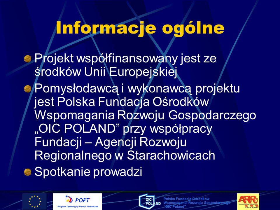 Informacje ogólne Projekt współfinansowany jest ze środków Unii Europejskiej Pomysłodawcą i wykonawcą projektu jest Polska Fundacja Ośrodków Wspomagan