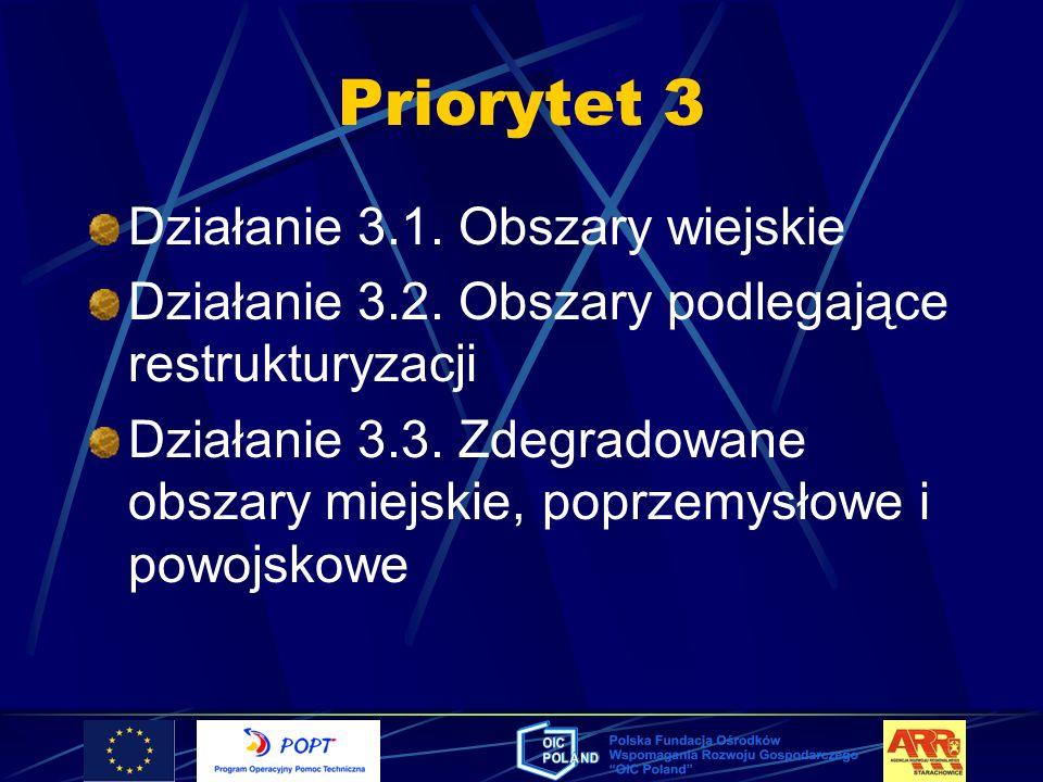 Priorytet 3 Działanie 3.1. Obszary wiejskie Działanie 3.2. Obszary podlegające restrukturyzacji Działanie 3.3. Zdegradowane obszary miejskie, poprzemy
