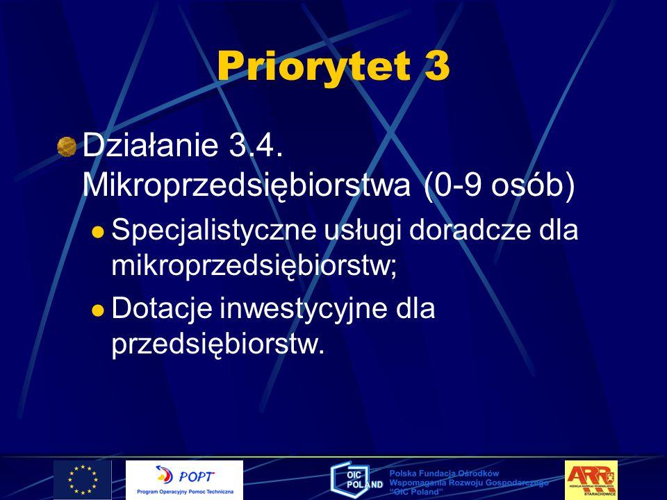 Priorytet 3 Działanie 3.4. Mikroprzedsiębiorstwa (0-9 osób) Specjalistyczne usługi doradcze dla mikroprzedsiębiorstw; Dotacje inwestycyjne dla przedsi