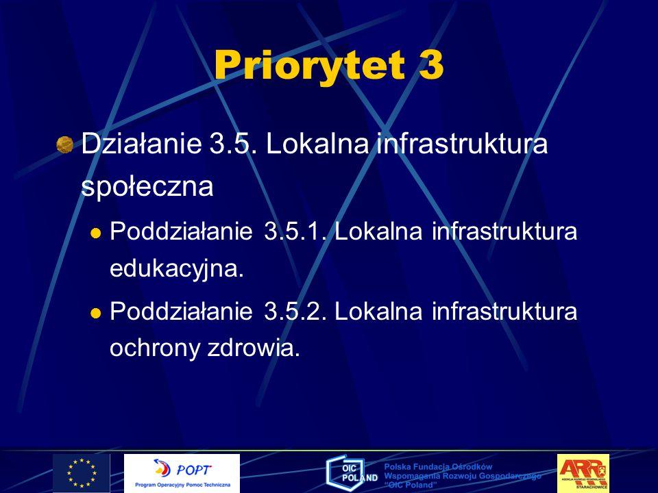 Priorytet 3 Działanie 3.5. Lokalna infrastruktura społeczna Poddziałanie 3.5.1. Lokalna infrastruktura edukacyjna. Poddziałanie 3.5.2. Lokalna infrast