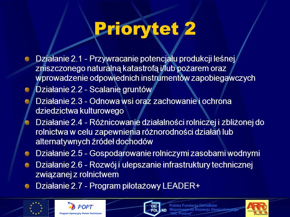 Priorytet 2 Działanie 2.1 - Przywracanie potencjału produkcji leśnej zniszczonego naturalną katastrofą i/lub pożarem oraz wprowadzenie odpowiednich in