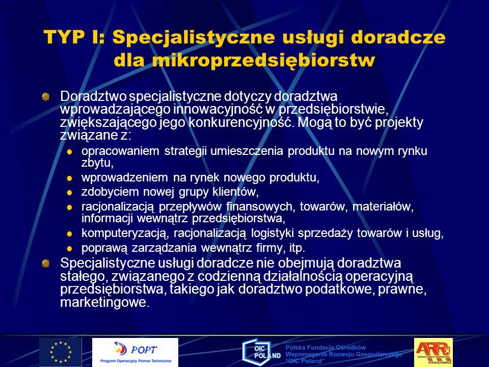 TYP I: Specjalistyczne usługi doradcze dla mikroprzedsiębiorstw Doradztwo specjalistyczne dotyczy doradztwa wprowadzającego innowacyjność w przedsiębi