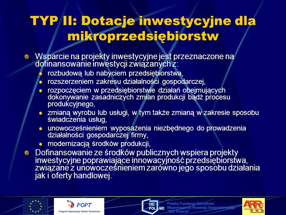 TYP II: Dotacje inwestycyjne dla mikroprzedsiębiorstw Wsparcie na projekty inwestycyjne jest przeznaczone na dofinansowanie inwestycji związanych z: r