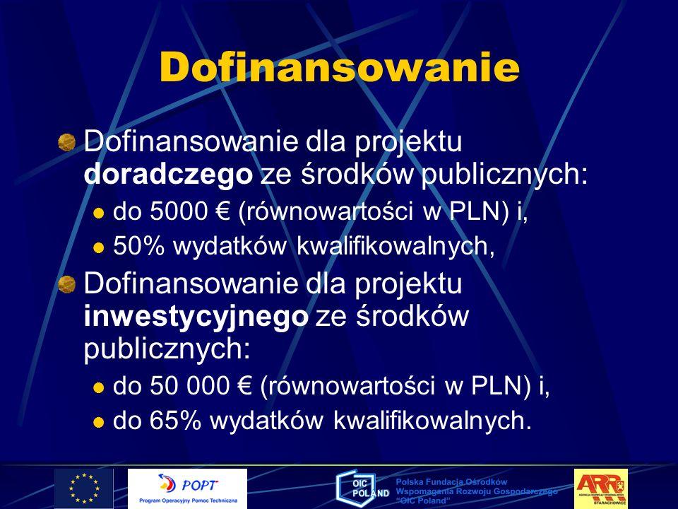 Dofinansowanie Dofinansowanie dla projektu doradczego ze środków publicznych: do 5000 (równowartości w PLN) i, 50% wydatków kwalifikowalnych, Dofinans