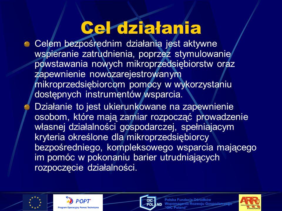 Cel działania Celem bezpośrednim działania jest aktywne wspieranie zatrudnienia, poprzez stymulowanie powstawania nowych mikroprzedsiębiorstw oraz zap