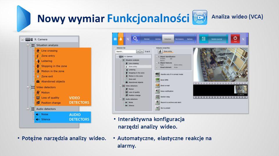 Potężne narzędzia analizy wideo. Automatyczne, elastyczne reakcje na alarmy.